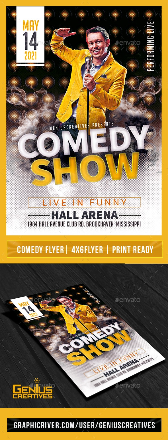 Comedy Show Open Mic Flyer Template V5 - Events Flyers