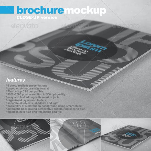 A4 Brochure Close-up Mock-up