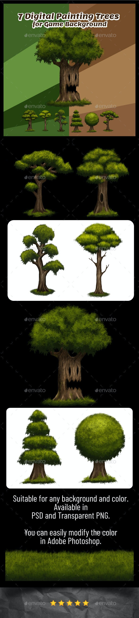 Digital Painting Forest Tree Game Asset - Miscellaneous Game Assets