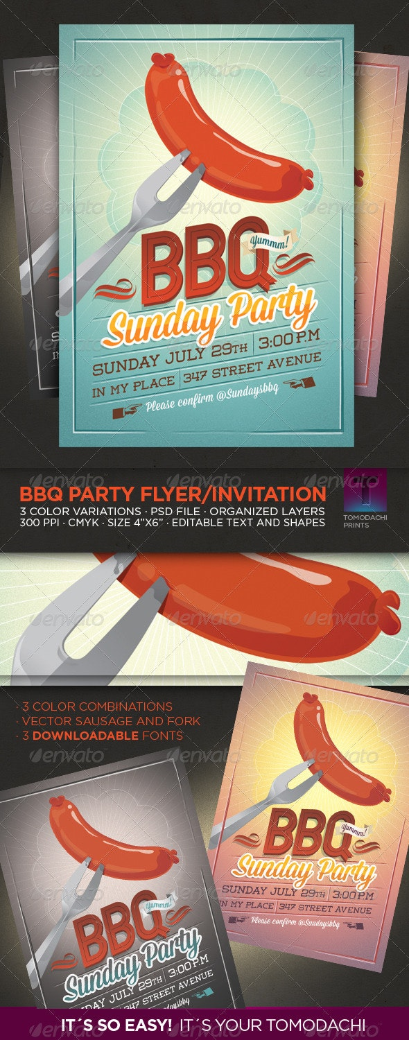 BBQ Summer Party Flyer/Invitation - Events Flyers