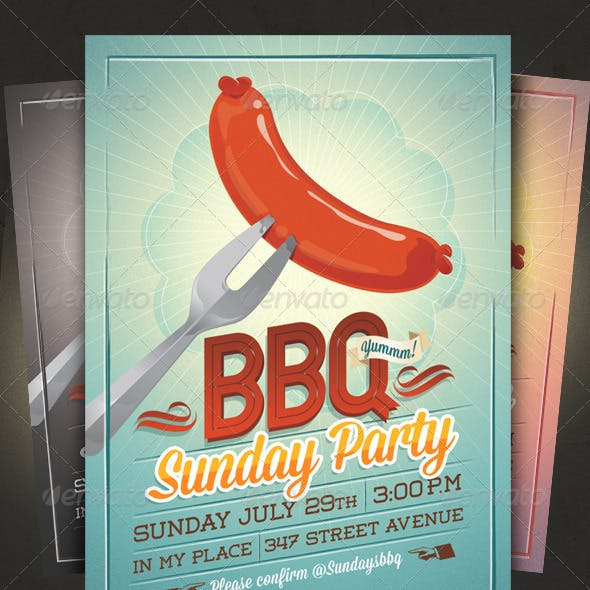 BBQ Summer Party Flyer/Invitation