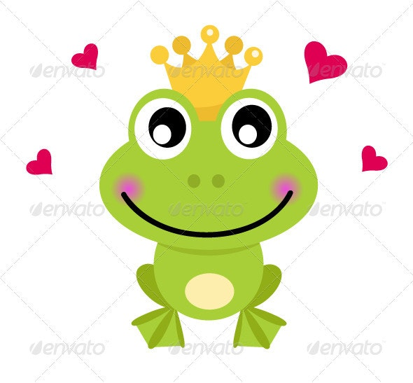 Frog cartoon prince isolated on white - Animals Characters