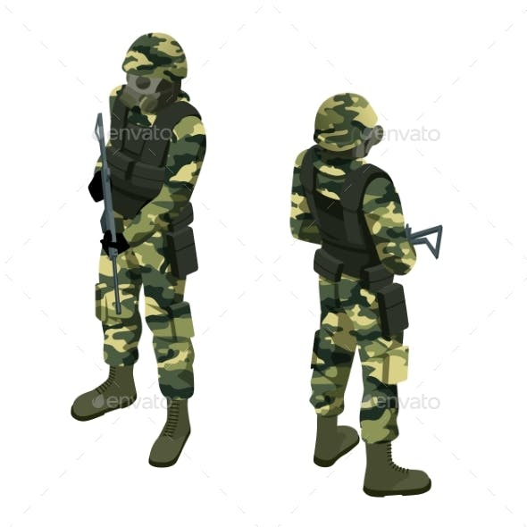 Isometric a Soldier in a Gas Mask and with a Gun