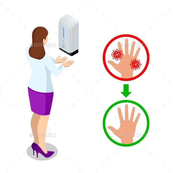 Isometric Automatic Alcohol Hand Sanitizer