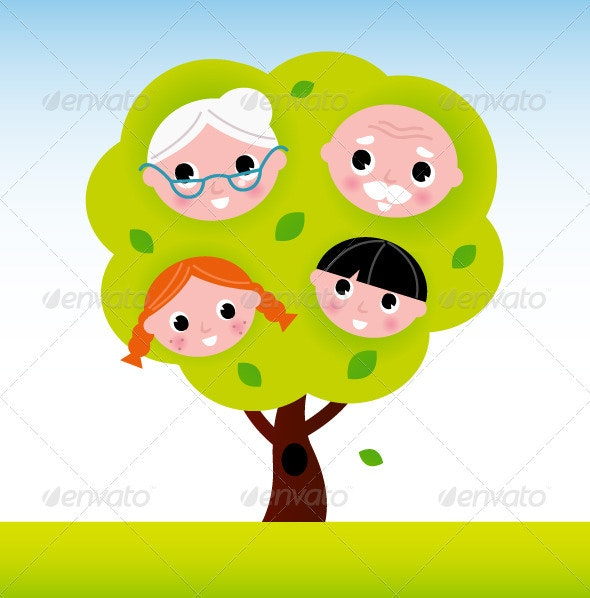 Family tree with grandparents and kids - People Characters