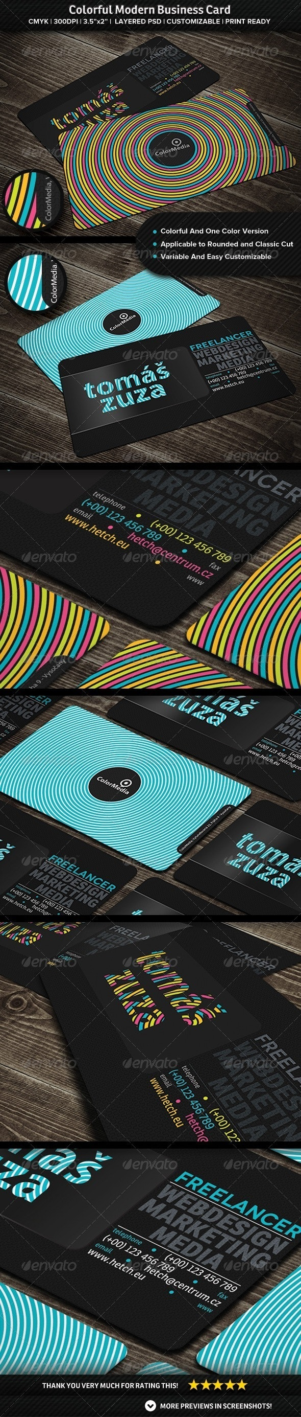 Colorful Modern Business Card - Creative Business Cards