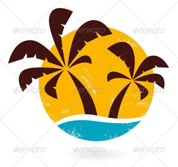 Retro grunge palms icon isolated on white - Travel Conceptual