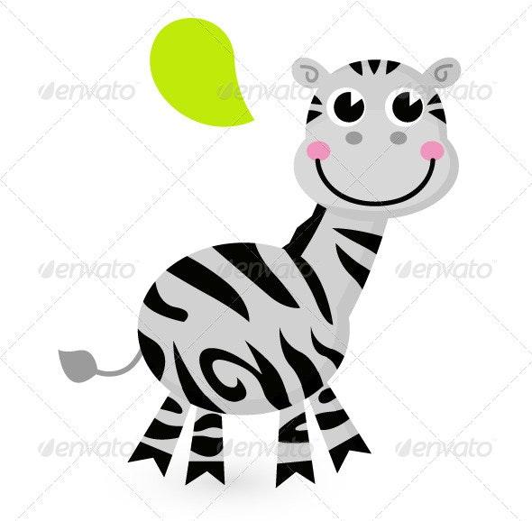 Cute cartoon Zebra isolated on white - Animals Characters