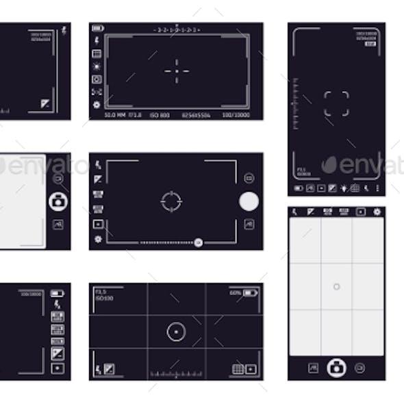 Camera Viewfinder Frames. Camcorder Interface, Cam