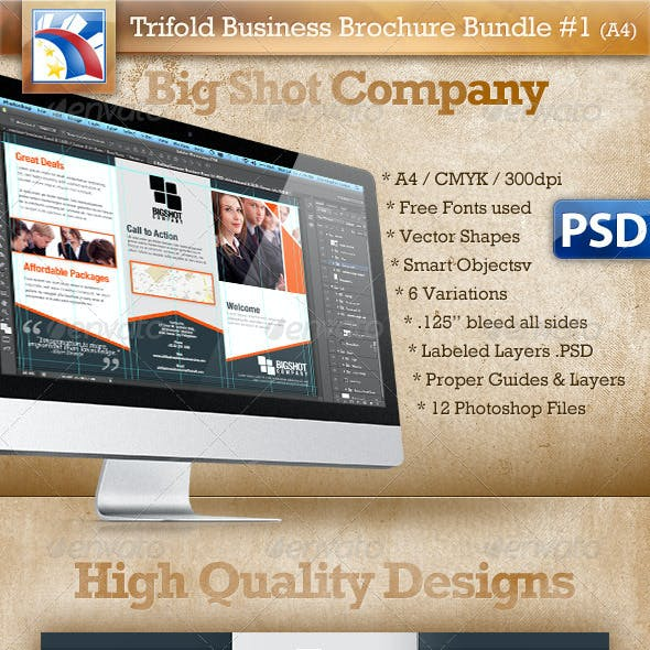A4 Trifold Brochure Template PSD 6 Variations #1