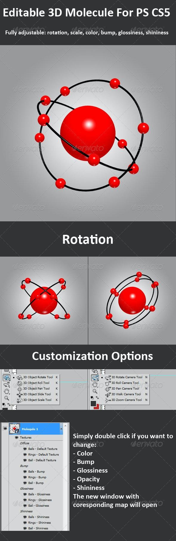 3D Molecule For PS CS5, Full 3D Options - Decorative Symbols Decorative