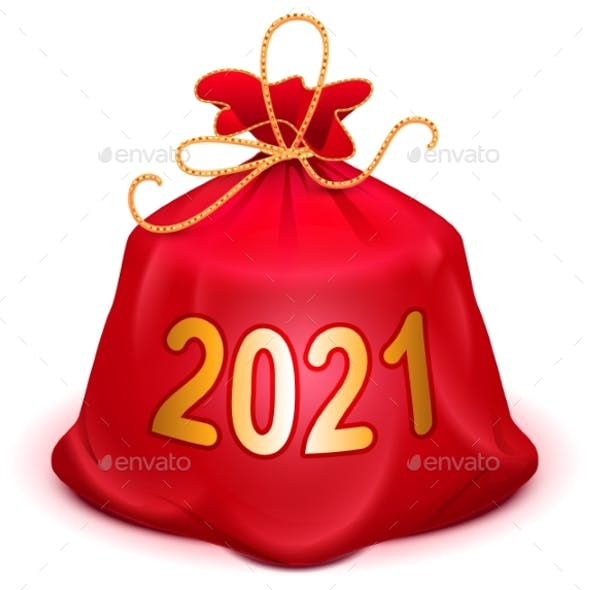 Santa Red Bag 2021 with Gifts Full Knotted Sack