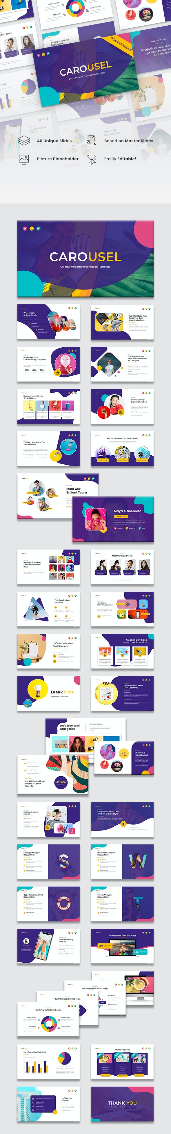 Carousel - Colorful Modern Google Slides Template - Google Slides Presentation Templates