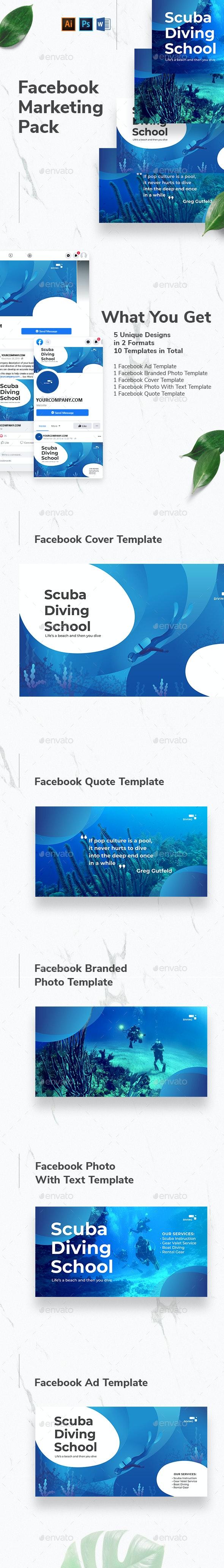 Diving School Facebook Marketing Materials - Facebook Timeline Covers Social Media