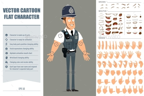 Cartoon Flat Funny Strong Policeman Character Set - People Characters