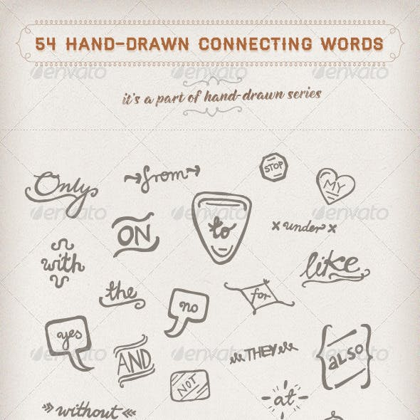 54 Hand-drawn Connecting Words