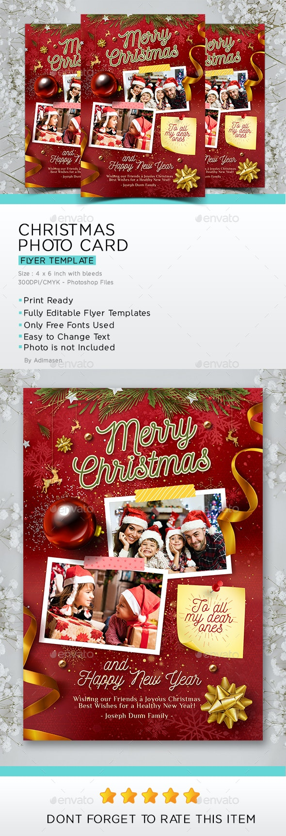 Christmas Photo Card Template - Christmas Greeting Cards