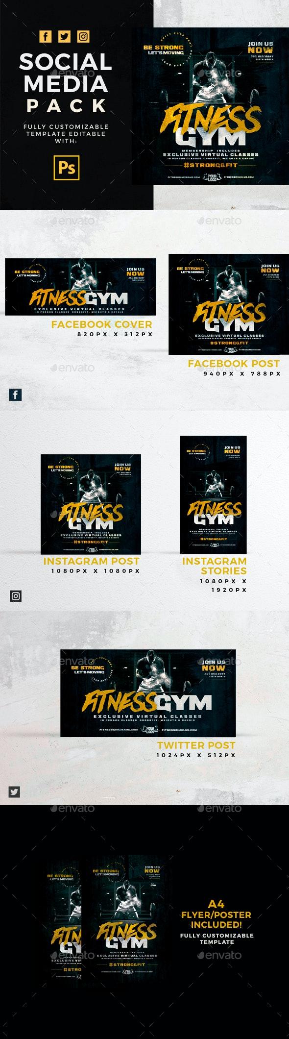 Fitness Gym Social Media Pack + Flyer Template - Social Media Web Elements