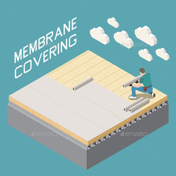 Roofer Isometric Composition