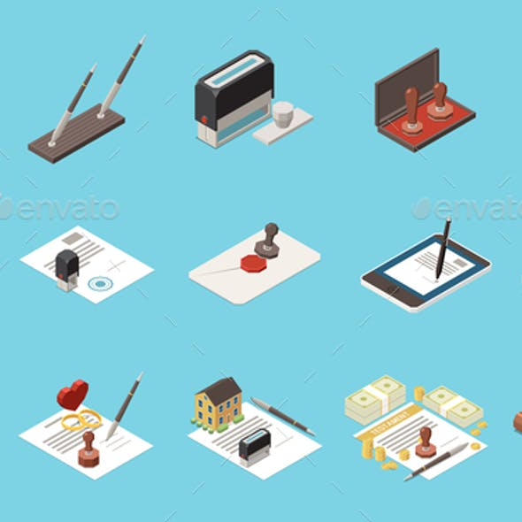 Notary Services Isometric Set