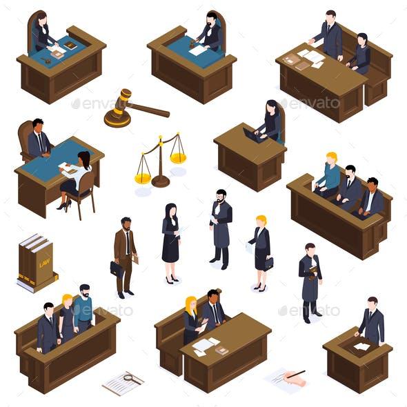 Lawyer Court Isometric Icons