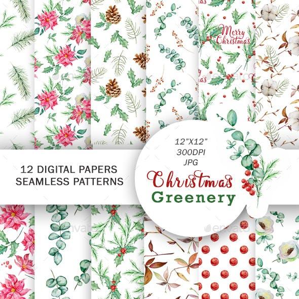 Watercolor Christmas Greenery Seamless Pattern