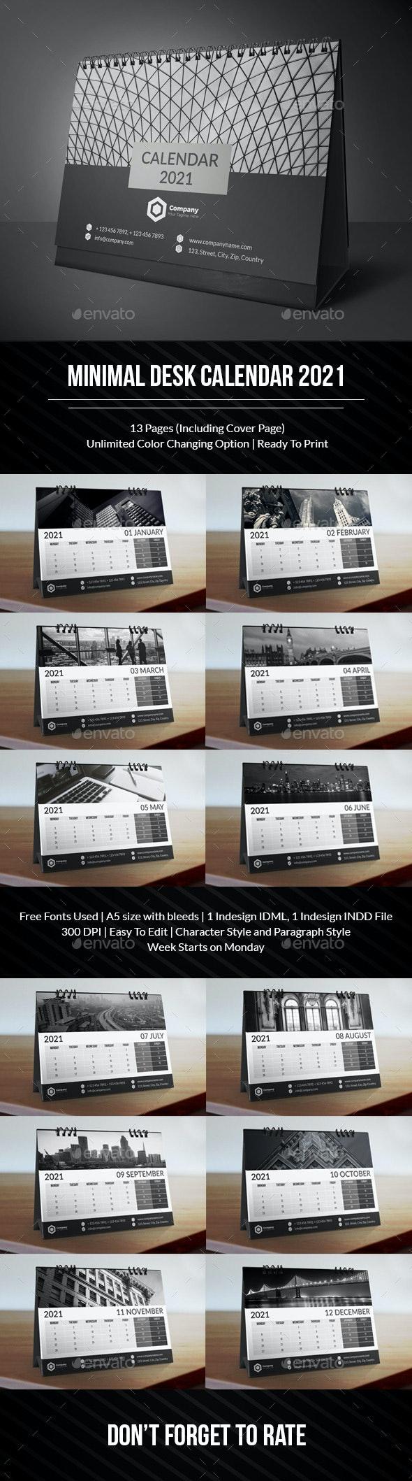 Minimal Desk Calendar 2021 - Calendars Stationery