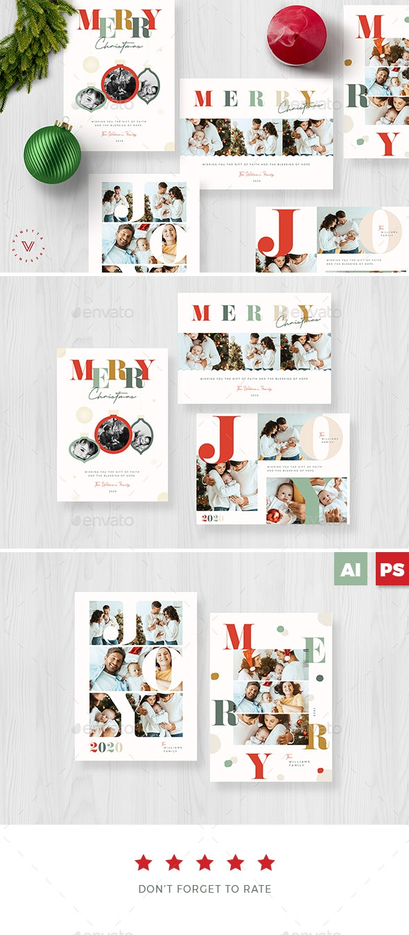 Colourful Typography Christmas Card - Christmas Greeting Cards