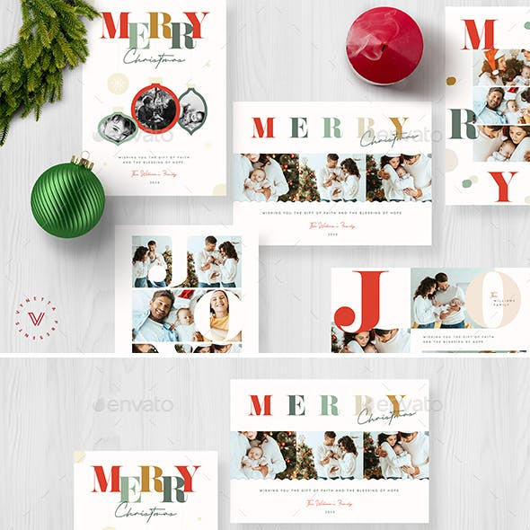 Colourful Typography Christmas Card