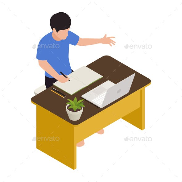 Homeschooling Isometric Vector Illustration