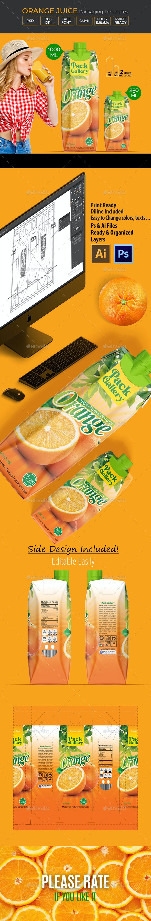 Orange Juice Template Packaging Design - Packaging Print Templates