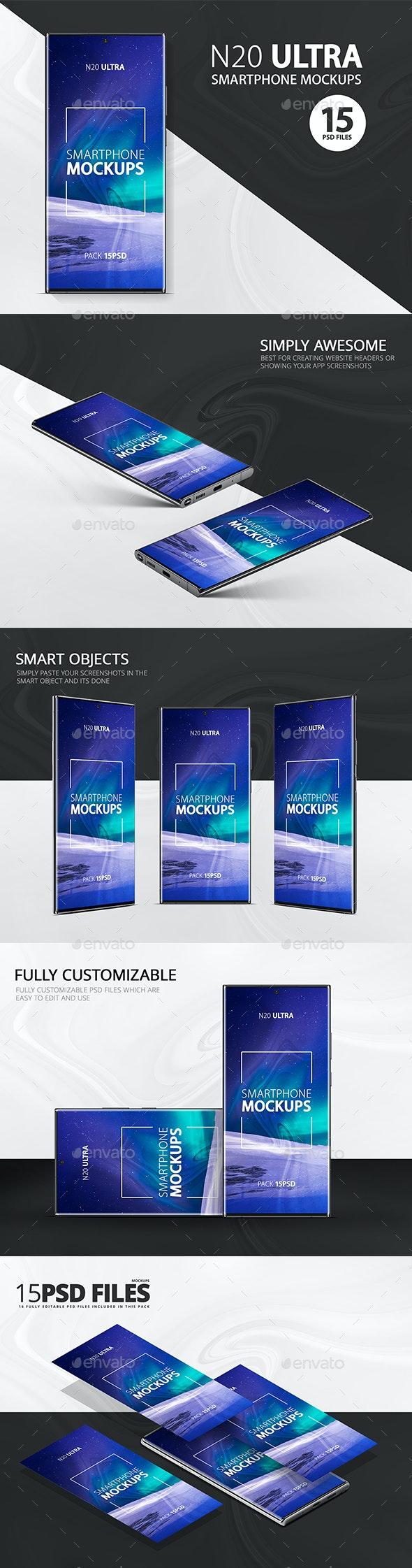 Note 20 Ultra Smartphone Mockups - Product Mock-Ups Graphics