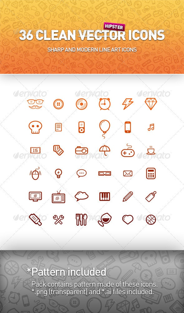36 Clean Vector Icons - Miscellaneous Icons