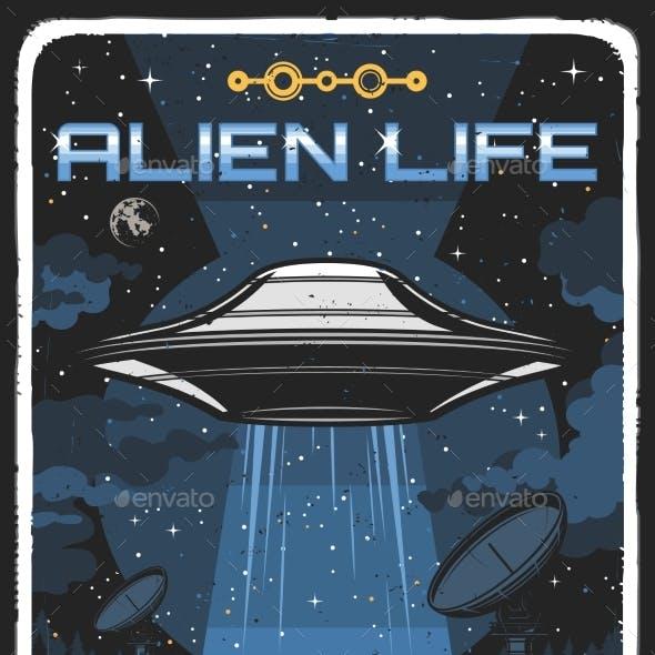 Retro Poster with Ufo Illuminate Houses at Night