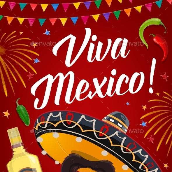 Viva Mexico Banner with Mexican Food and Sombrero