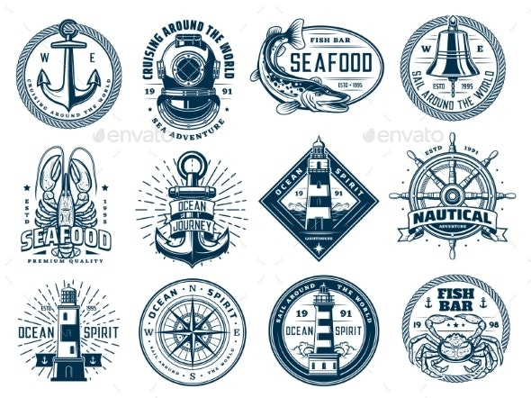 Nautical Anchor, Ship Helm, Lighthouse and Fish - Objects Vectors