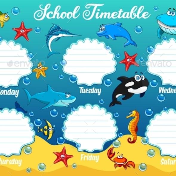 School Timetable with Underwater Cartoon Animals