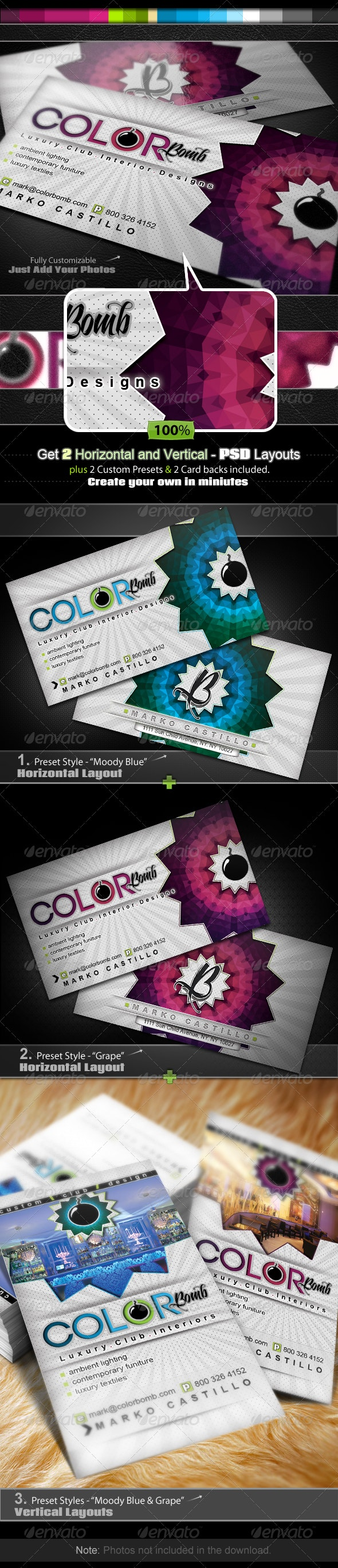 Color Bomb - Business Card Set - Creative Business Cards