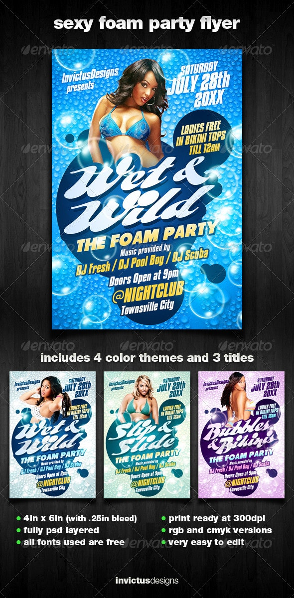 Sexy Foam Party Flyer - Clubs & Parties Events