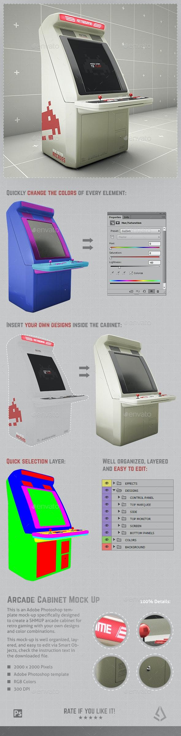 Retro Gaming Arcade SHMUP Cabinet Mockup Template - Miscellaneous Print