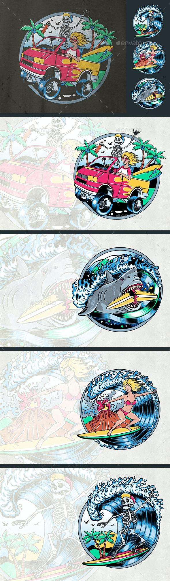 Surfing T-Shirt Vector Designs - Sports/Activity Conceptual