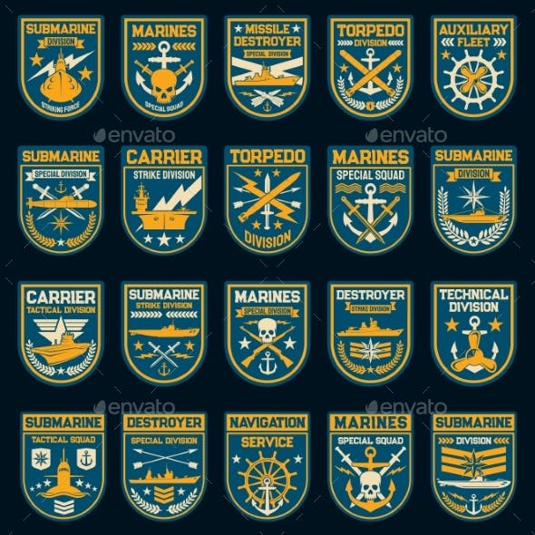 Navy or Naval Force Vector Patches and Badges