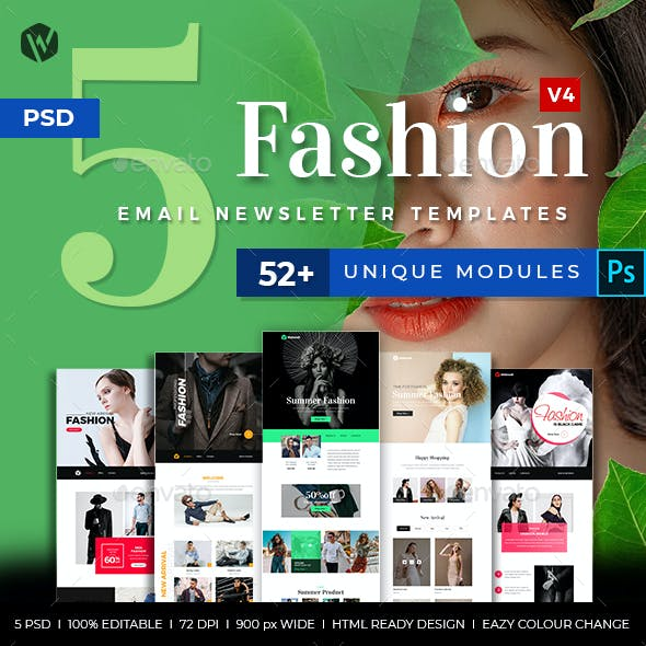 5 Fashion Email Newsletter PSD Templates v4