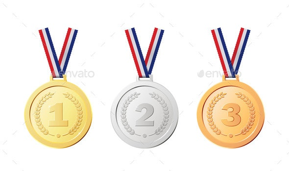 Realistic Golden Awards for Competition Winner - Miscellaneous Vectors
