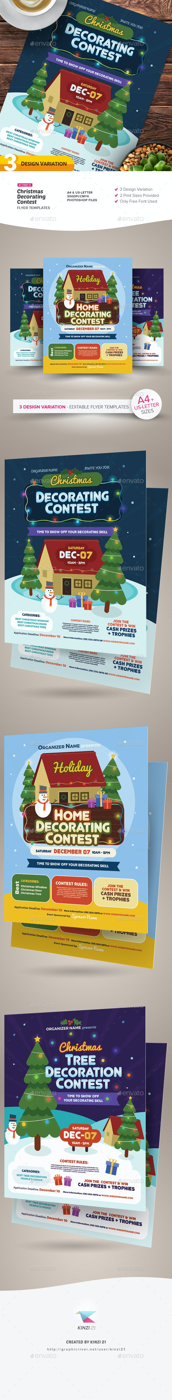Christmas Decorating Contest Flyer Templates - Holidays Events
