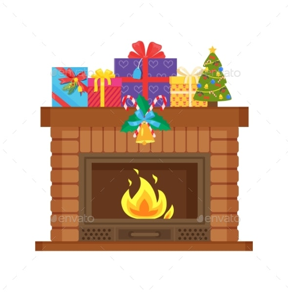 Fireplace with Metal Frame - Man-made Objects Objects
