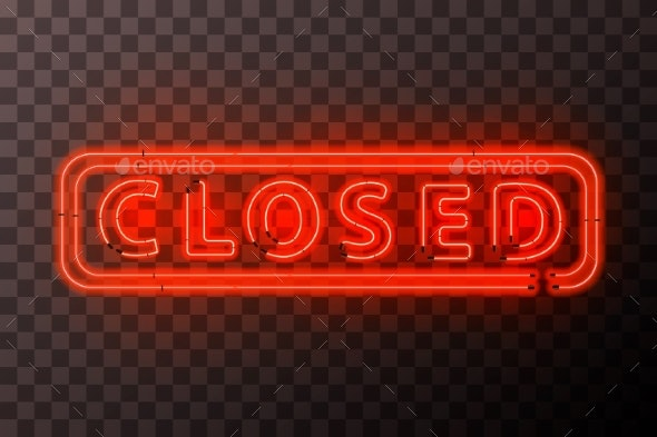 Bright Red Neon Closed Sign with Rectangle Frame - Miscellaneous Vectors