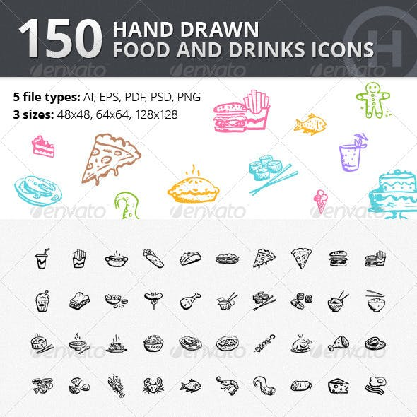 150 Hand-drawn Food and Drinks Icons
