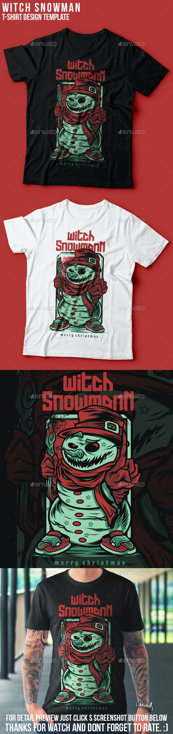Witch Snowman Happy Christmas T-Shirt Design - Funny Designs
