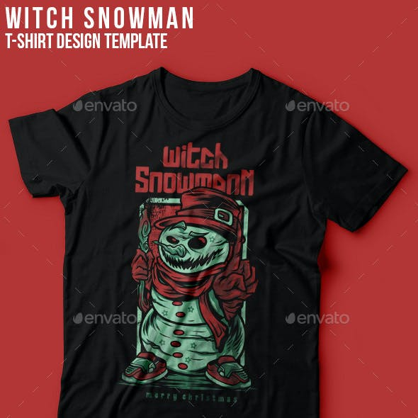 Witch Snowman Happy Christmas T-Shirt Design